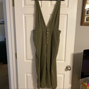 Plunging Linen Blend Small Pinstripe Jumpsuit